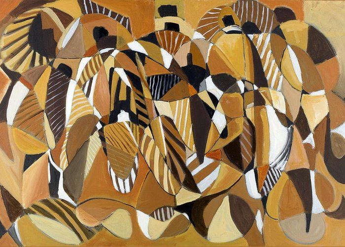 Abstract Greeting Card featuring the painting Going Forth by Leonard R Wilkinson