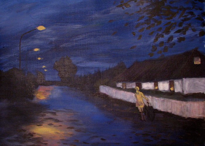 Art Nomad Greeting Card featuring the painting Going Home by Art Nomad Sandra Hansen