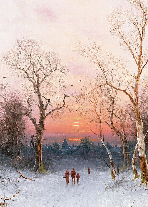 Sunset; Ice Greeting Card featuring the painting Going Home by Nils Hans Christiansen
