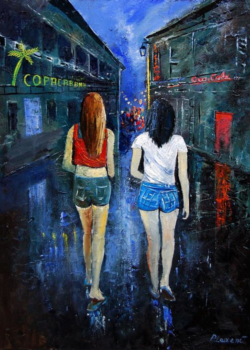 Girl Greeting Card featuring the painting Going Out Tonight by Pol Ledent