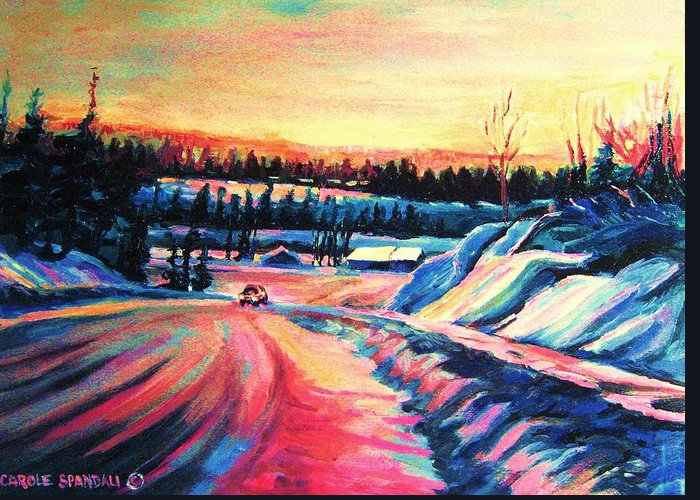 Winterscene Greeting Card featuring the painting Going Places by Carole Spandau