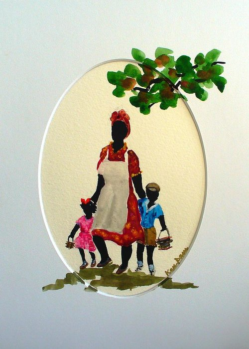 Caribbean Children Greeting Card featuring the painting Going To School by Karin Dawn Kelshall- Best