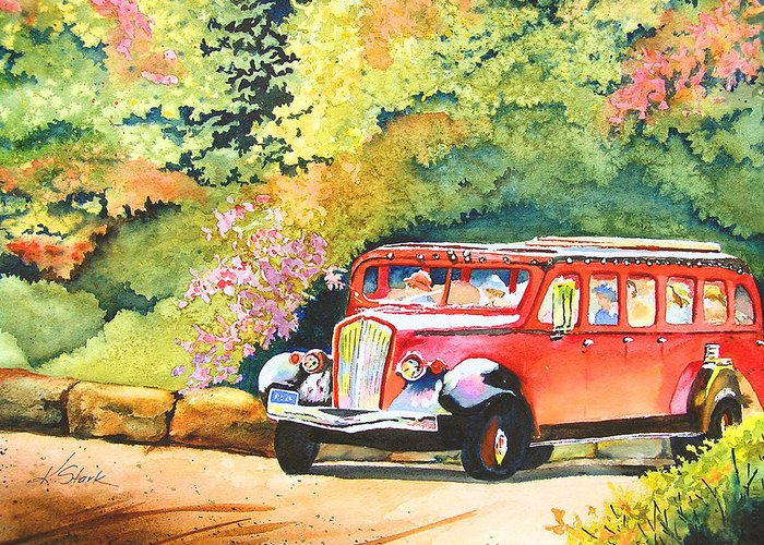 Landscape Greeting Card featuring the painting Going To The Sun by Karen Stark