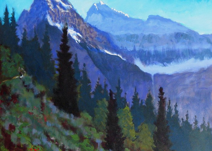 Glacier Greeting Card featuring the painting Going To The Sun Road by Robert Bissett
