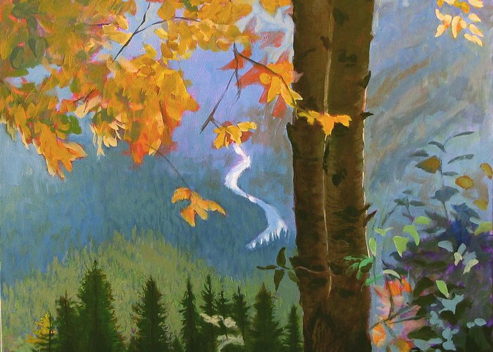 Glacier Greeting Card featuring the painting Going To The Sun by Robert Bissett