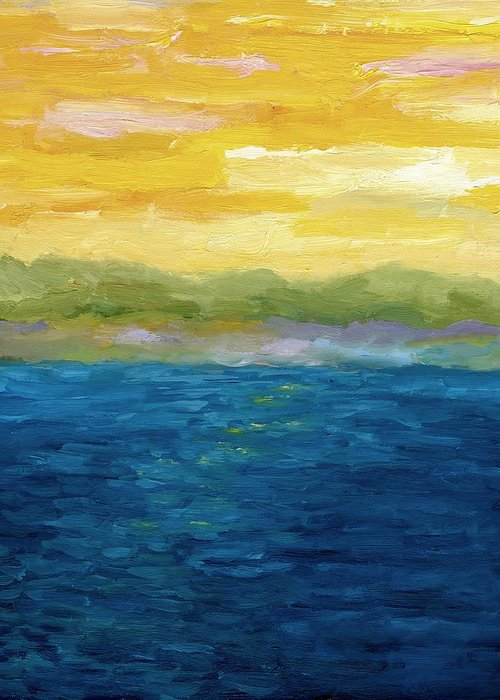 Lake Greeting Card featuring the painting Gold And Pink Sunset by Michelle Calkins