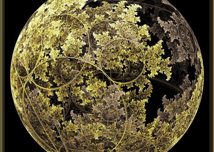 Fractal Greeting Card featuring the digital art Gold And Silver by Lorant Zsolt