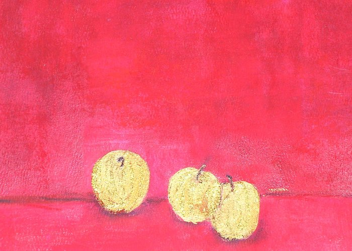 Fruit Greeting Card featuring the painting Gold Apples On Red by Michela Akers