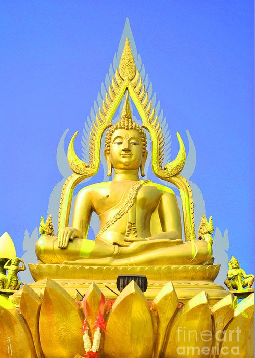 Gold Greeting Card featuring the sculpture Gold Buddha Statue by Somchai Suppalertporn