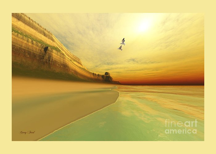 Seagull Greeting Card featuring the painting Gold Coast by Corey Ford