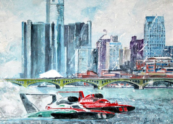 Landscape Greeting Card featuring the painting Gold Cup Race On Detroit River by Joe Pas