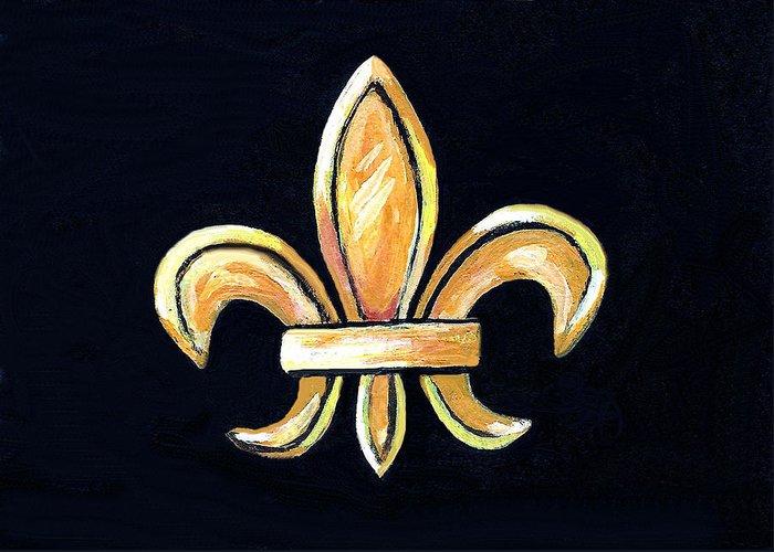 Fleur De Lis Greeting Card featuring the painting Gold Fleur De Lis On Black by Elaine Hodges