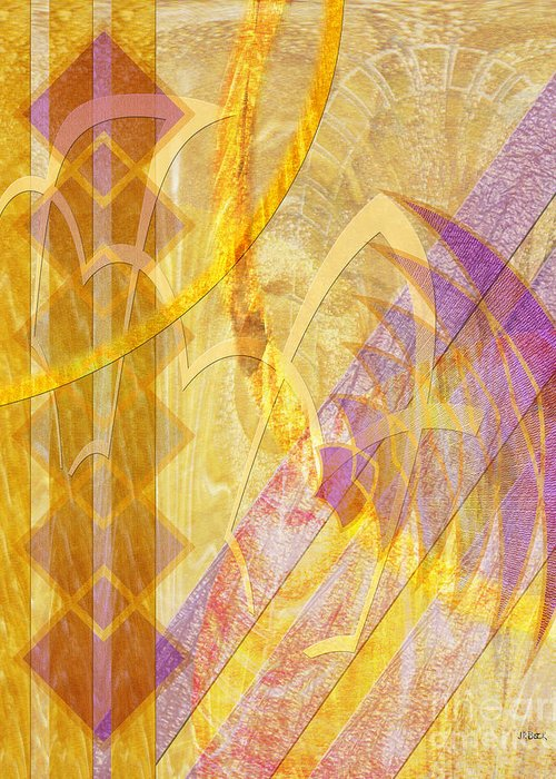 Gold Fusion Greeting Card featuring the digital art Gold Fusion by John Beck
