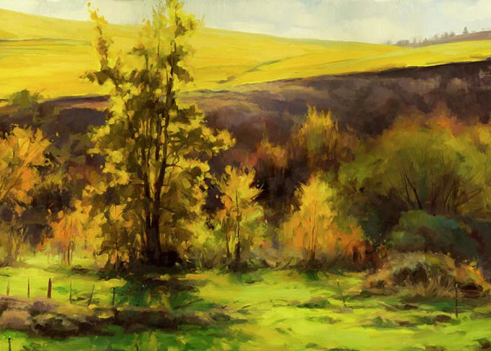 Landscape Greeting Card featuring the painting Gold Leaf by Steve Henderson