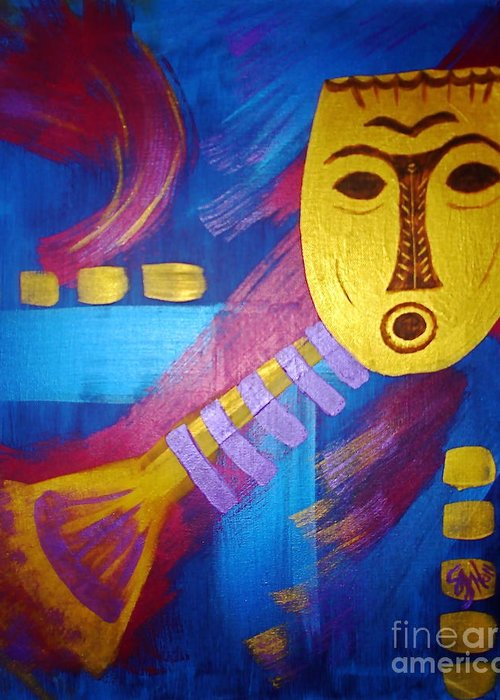 Mask Greeting Card featuring the painting Gold Mask on Blue by Sheila J Hall