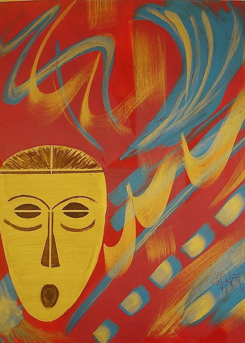 Mask Greeting Card featuring the painting Gold Mask on Red by Sheila J Hall