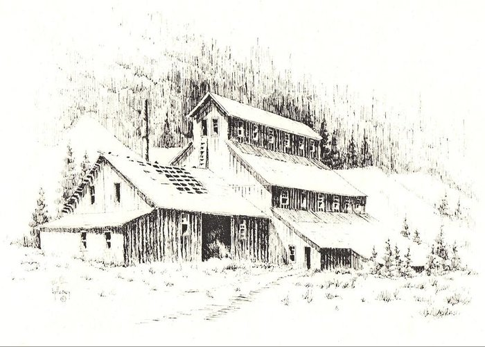 Ghost Town Greeting Card featuring the drawing Gold Mine Cable Ghost Town Montana by Kevin Heaney