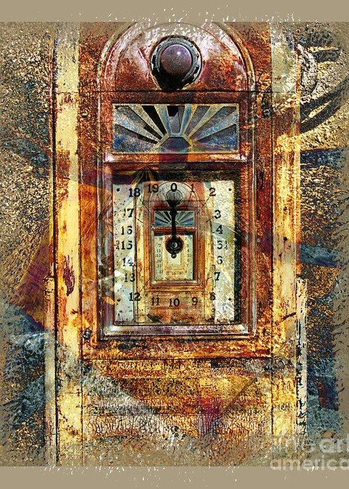 Gas Pump Greeting Card featuring the digital art Gold Mine Gas Pump by Chuck Brittenham