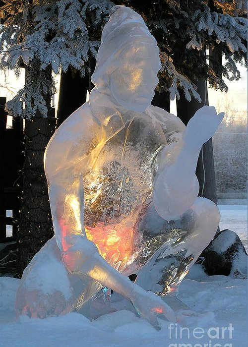 Ice Sculpture Greeting Card featuring the photograph Gold Miner by Louise Magno