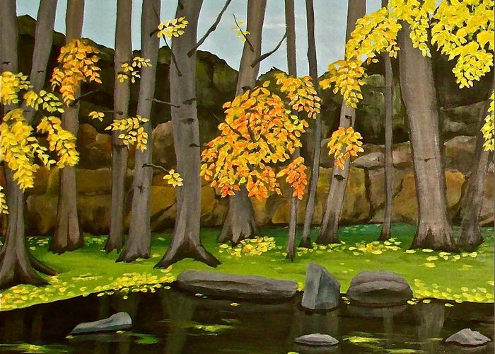 Meadow Park Greeting Card featuring the painting Gold On The River Meadow Park Lyons Co by Renee G Noel
