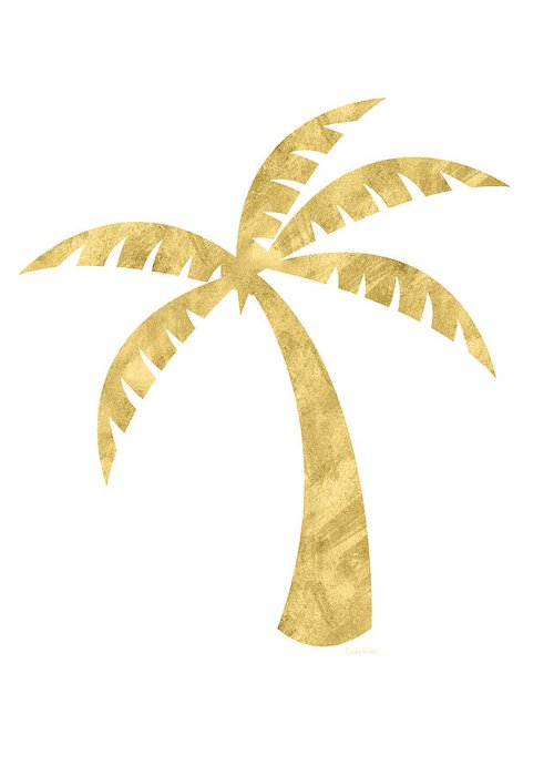 Palm Tree Greeting Card featuring the mixed media Gold Palm Tree- Art by Linda Woods by Linda Woods