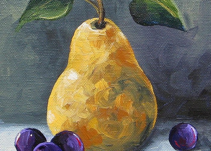 Pear Greeting Card featuring the painting Gold Pear with Grapes II by Torrie Smiley