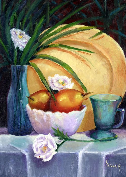 Still Life Greeting Card featuring the painting Gold Plate by Linda Hiller