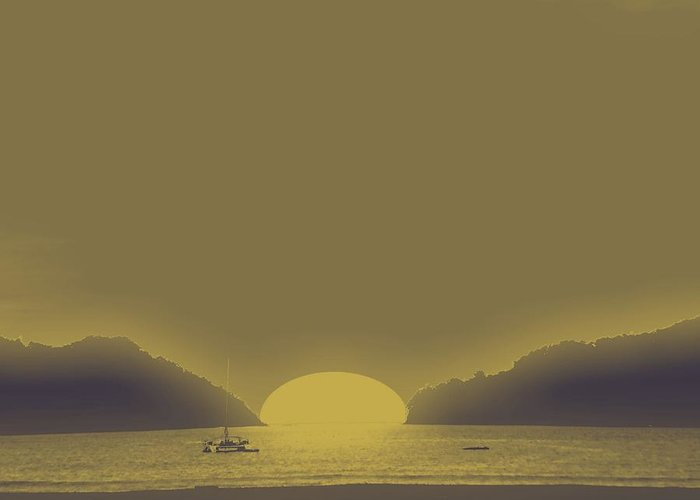 Seascape Greeting Card featuring the digital art Gold River And Sun Set by Philip Okoro