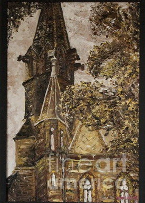Greeting Card featuring the painting Gold Thun Castle by Pablo de Choros