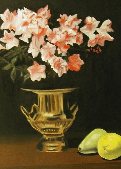 Still Life Greeting Card featuring the painting Gold Vase With Fruit by Angelo Thomas