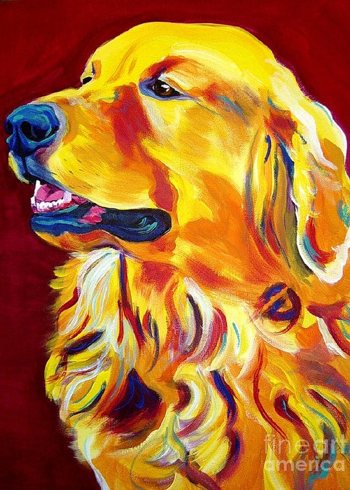 Dog Greeting Card featuring the painting Golden - Scout by Alicia VanNoy Call