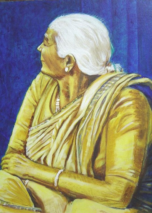 Usha Greeting Card featuring the painting Golden Age 1 by Usha Shantharam