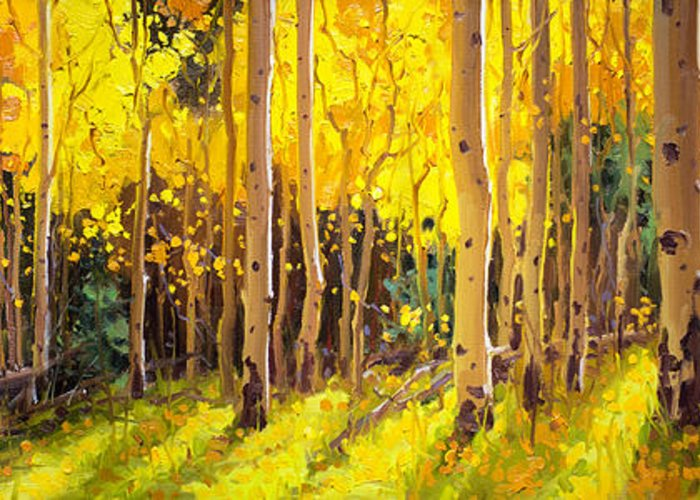 Golden Aspen In The Light Aspen Trees Birch Gary Kim Oil Print Art Nature Scenes Healing Environment Patient Santa Fe Fall Trees Autumn Season Beautiful Beauty Yellow Red Orange Fall Leaves Foliage Autumn Leaf Color Mountain Oil Painting Original Art Horizontal Landscape National Park America Morning Nature Wallpaper Outdoor Panoramic Peaceful Scenic Sky Sun Travel Vacation View Season Bright Autumn National Park America Clouds Landscape Natural New Painting Oil Original Vibrant Texture Bluesky Greeting Card featuring the painting Golden Aspen in the Light by Gary Kim