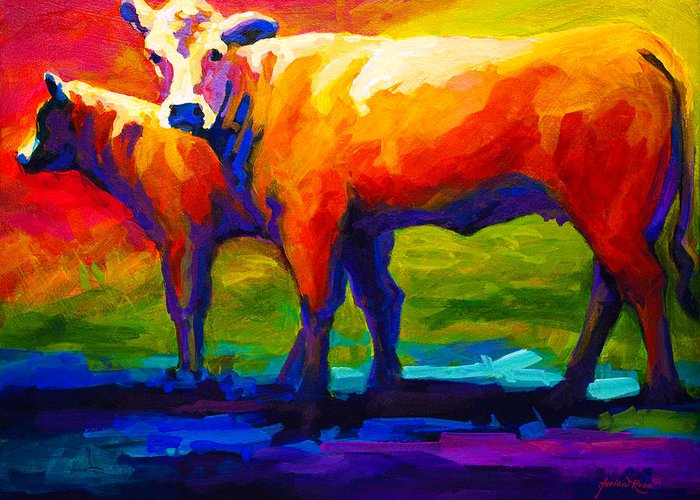 Cows Greeting Card featuring the painting Golden Beauty - Cow And Calf by Marion Rose
