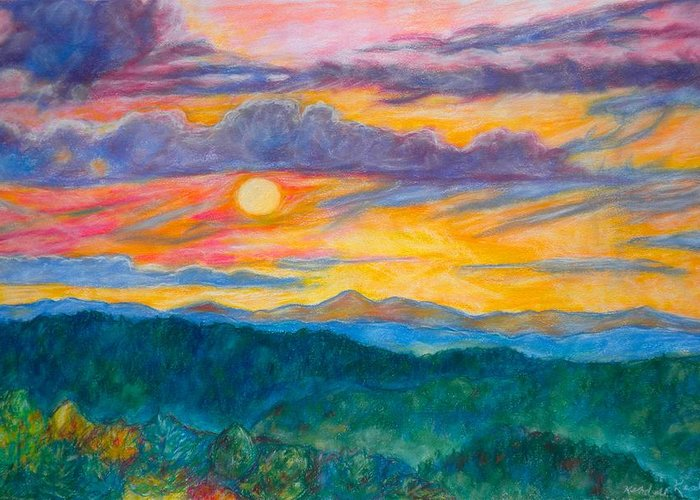 Landscape Greeting Card featuring the painting Golden Blue Ridge Sunset by Kendall Kessler