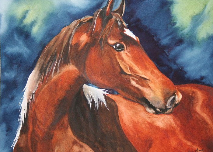 Horse Greeting Card featuring the painting Golden Boy by Jean Blackmer