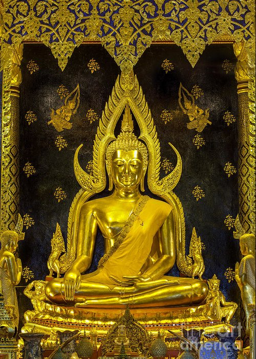 Abstract Greeting Card featuring the photograph Golden Buddha by Anek Suwannaphoom