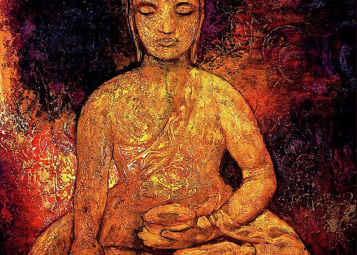 Oil Painting Greeting Card featuring the painting Golden Buddha by Shijun Munns