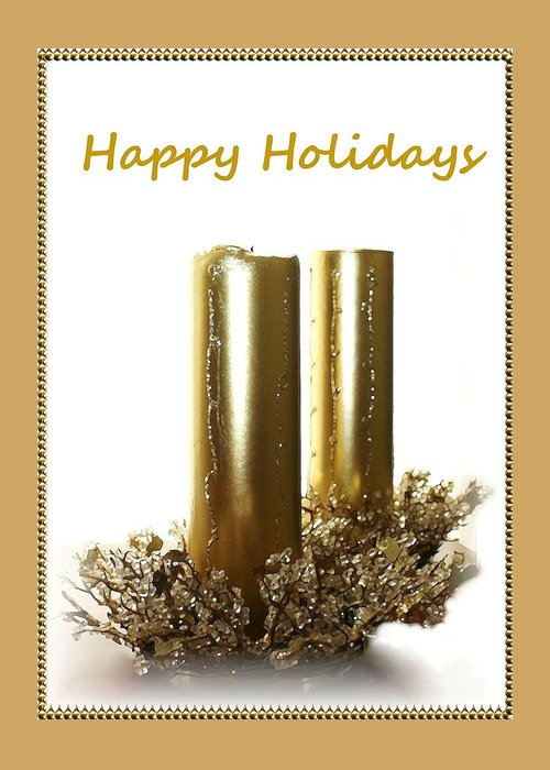 Christmas Greeting Card featuring the photograph Golden Candles by Ellen O'Reilly