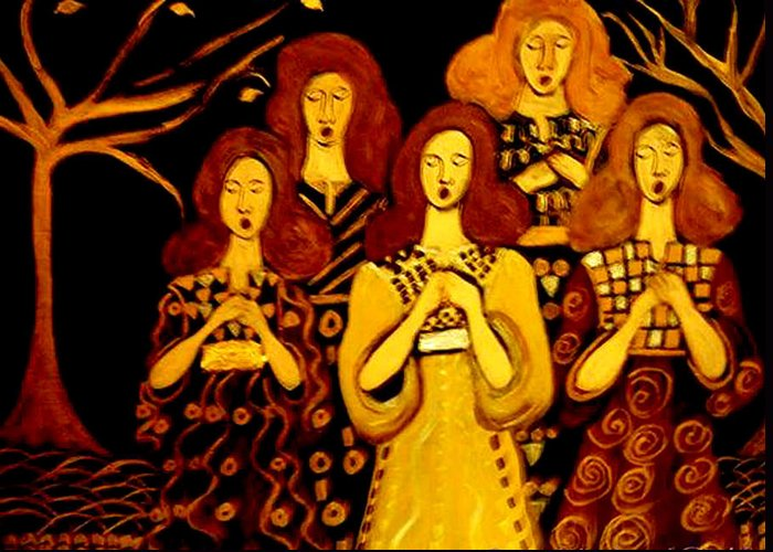 Choir Greeting Card featuring the painting Golden Chords by Rusty Gladdish