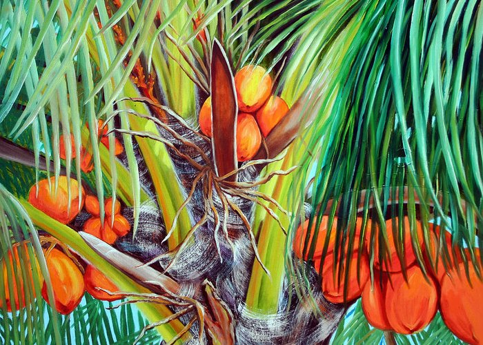 Coconuts Greeting Card featuring the painting Golden Coconuts by Jose Manuel Abraham