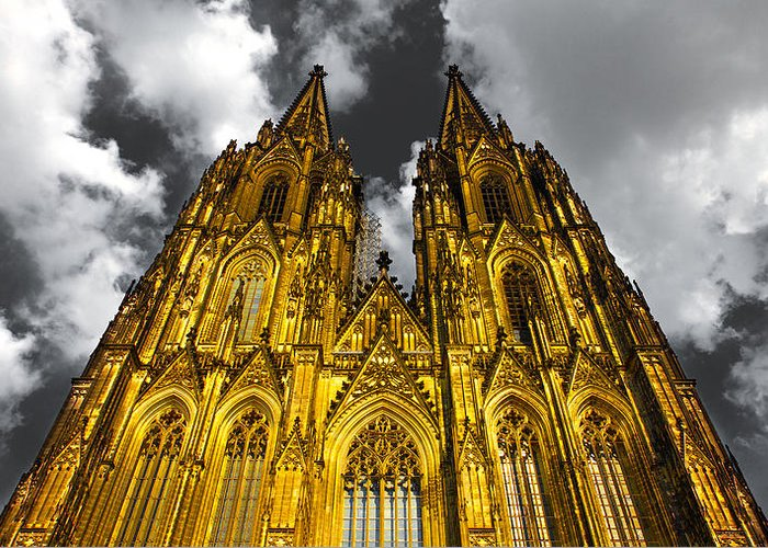 2010 Greeting Card featuring the photograph Golden Dome Of Cologne by Thomas Splietker