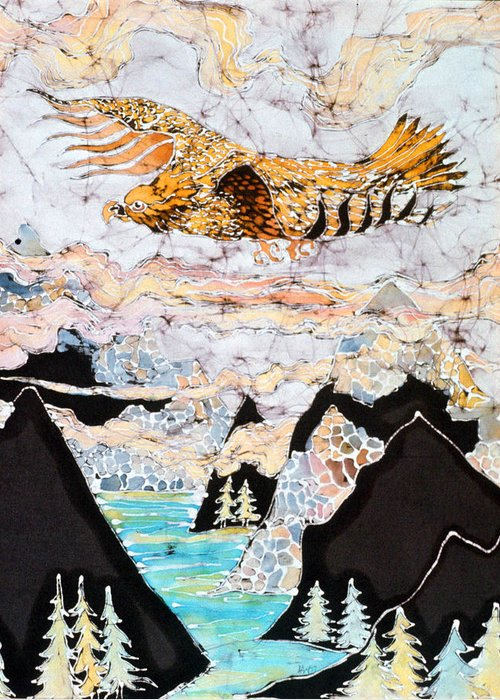 Golden Greeting Card featuring the tapestry - textile Golden Eagle Flies Above Clouds And Mountains by Carol Law Conklin
