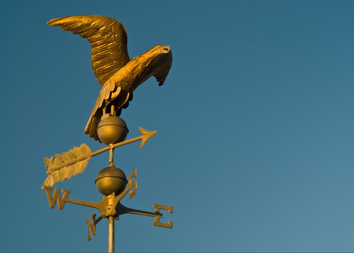 Golden Greeting Card featuring the photograph Golden Eagle Weather Vane by Douglas Barnett