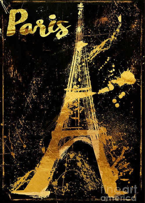 Eiffel Tower Greeting Card featuring the painting Golden Eiffel Tower Paris by Mindy Sommers