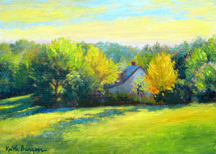 Landscape Greeting Card featuring the painting Golden Evening by Keith Burgess