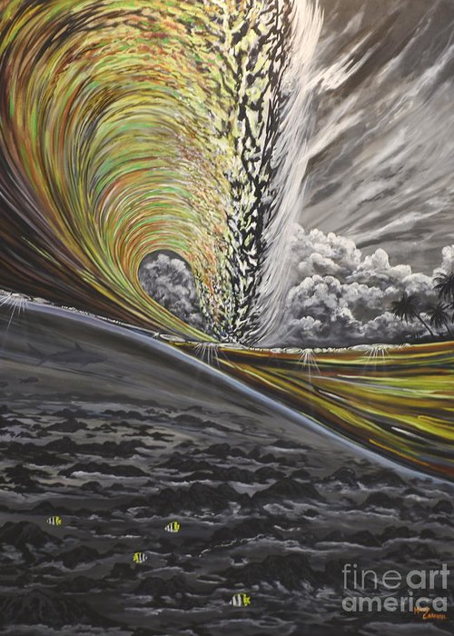 Surf Greeting Card featuring the painting Golden Eye by Marty Calabrese