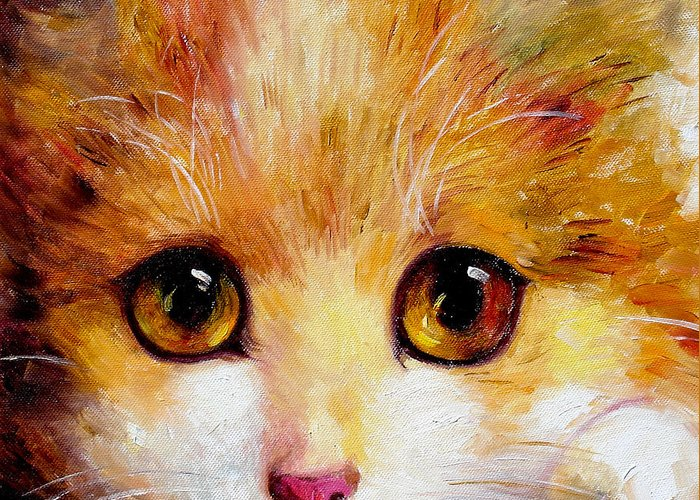 Portrait Greeting Card featuring the painting Golden Eye by Shijun Munns