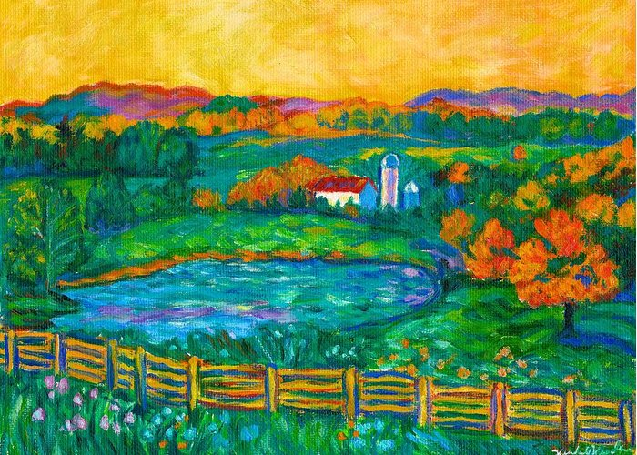 Landscape Greeting Card featuring the painting Golden Farm Scene Sketch by Kendall Kessler