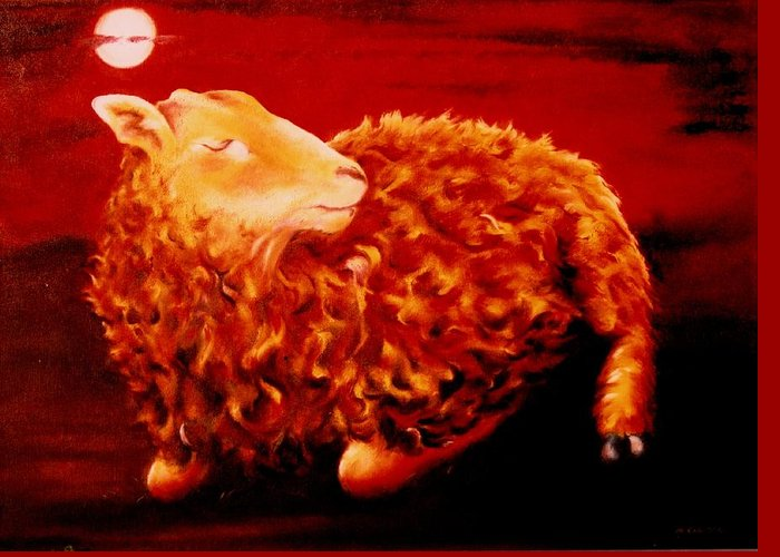 Sunset Greeting Card featuring the painting Golden Fleece by Mark Cawood